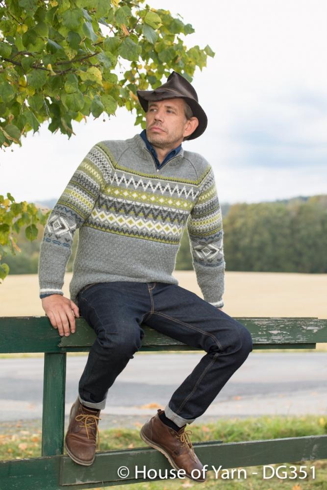 Strikkemekka.no - lothepus genser lanolin wool grå herre