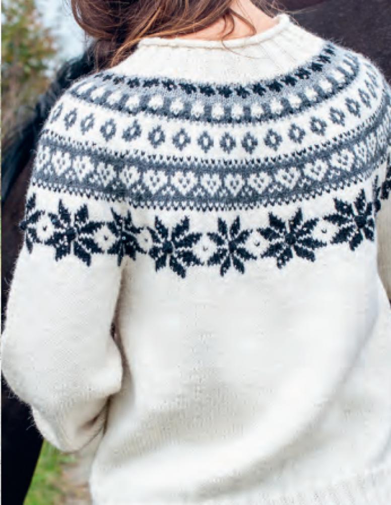 Snøhvit Genser fra Du Store Alpakka, kjøp som strikkepakke
