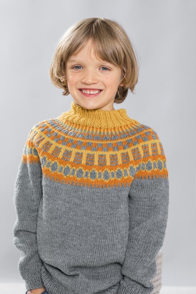Strikkemekka.no gjesdal tor genser rundfelling barn