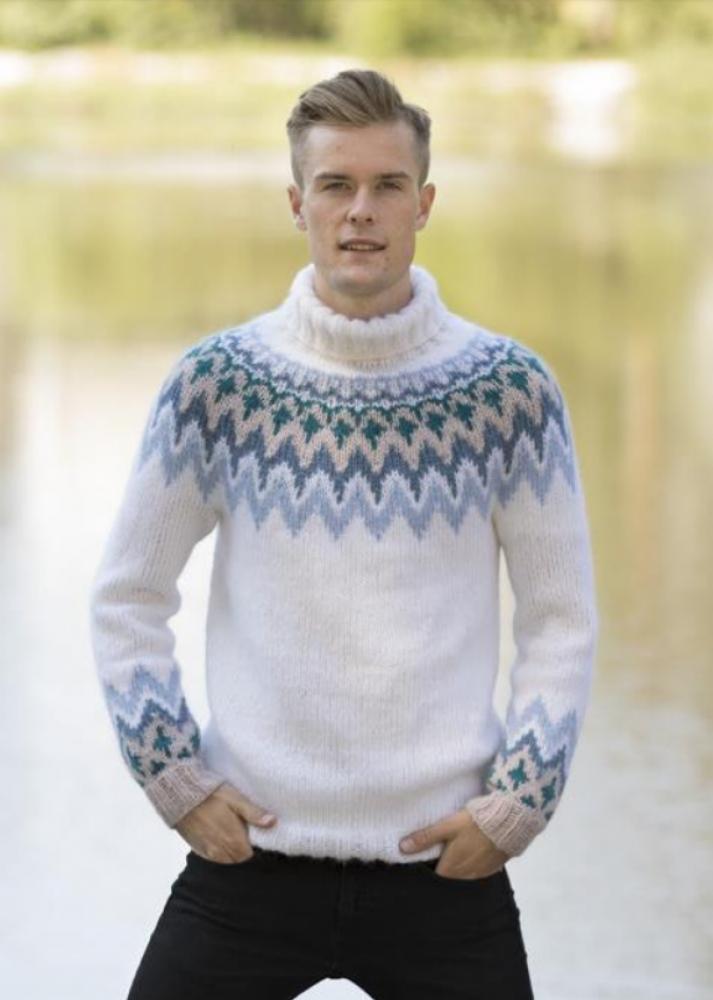 Strikkemekka.no viking kathrine genser herre kjendisfarmen
