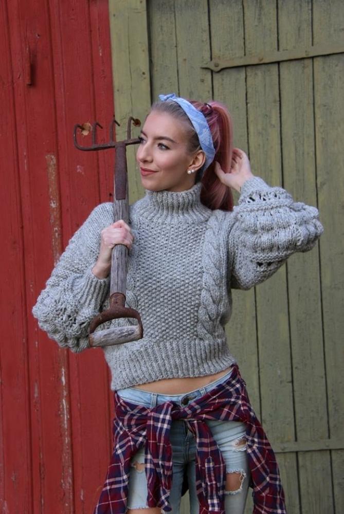strikket genser med fletter oppskrift